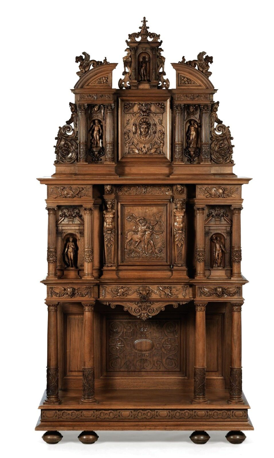 Carved Walnut Cabinet Signed Dufin Misc. Art