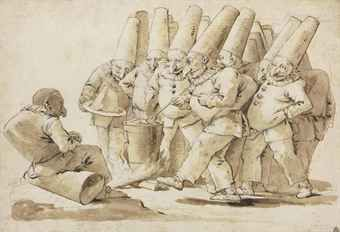 Giovanni Battista Tiepolo (1696–1770), Punchinelli preparing a meal of gnocchi and parmesan cheese