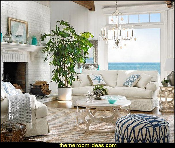 Charming Sea Themed Decorating Ideas Part - 6: Nautical Livingroom Decorating Ideas - Coastal Seaside With Beach Themed  Decor
