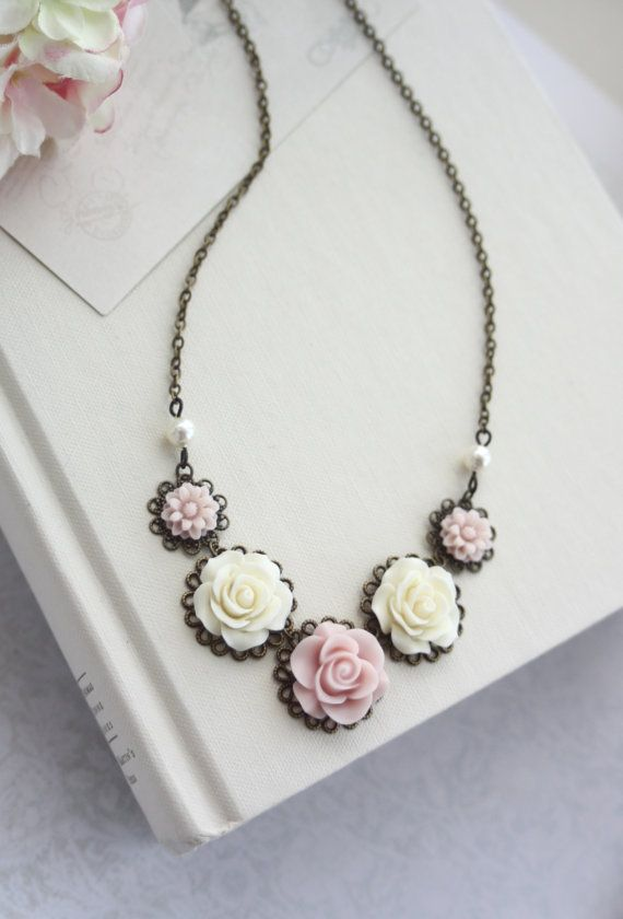 Ivory Blush Pink Light Pink Ivory Pearls Antiqued di Marolsha