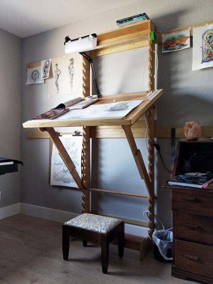 Diy art desk with adjustable height and angle art desk