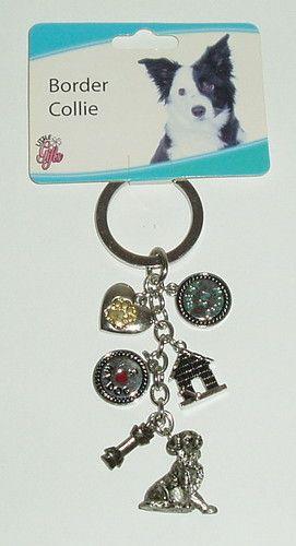 BORDER COLLIE Silver Metal Pewter Charm Keychain Dog Puppy Gift