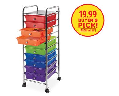 Easy Home 10 Drawer Rolling Storage Cart