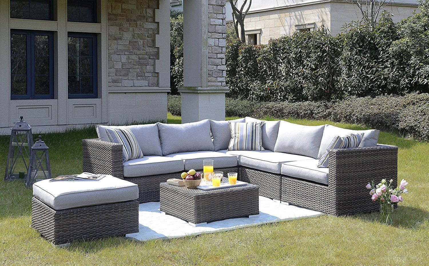Homewell Outdoor Wicker Lounge Conversation Sofa Set With L Shaped Sofa Table With Glass Top And Cushioned Ottoman Brown Outdoor Wicker L Shaped Sofa Outdoor