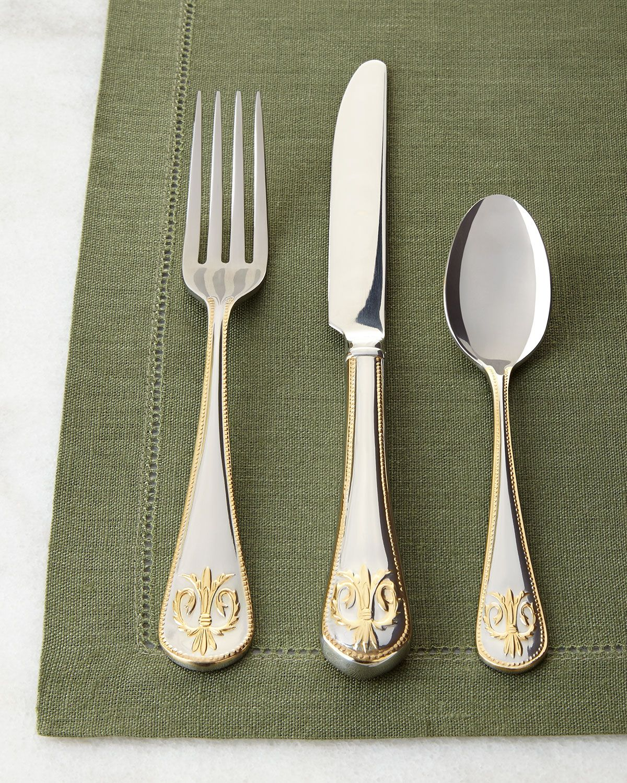 20 Piece Edinburgh Flatware Service Gold Accent Kitchen DiningDining RoomRoom