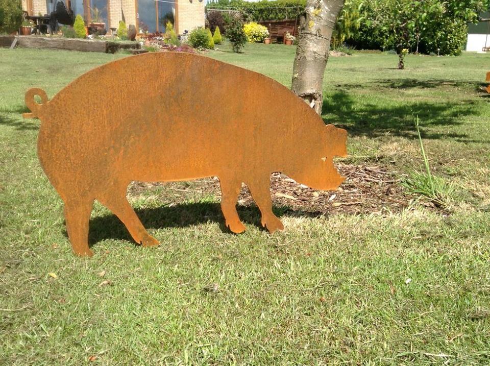 Pig Metal Garden Art Sow Pigs Piglets