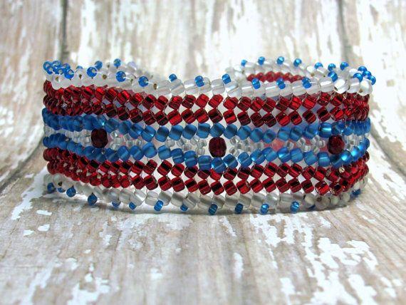Patriottische visgraat armband rood wit en door HappyEverythingElse
