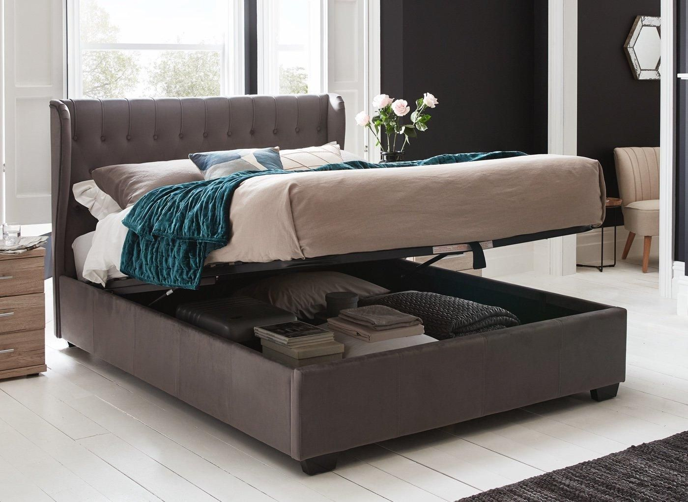 Best Sana Grey Fabric Ottoman Bed Frame 5 King In 2020 400 x 300