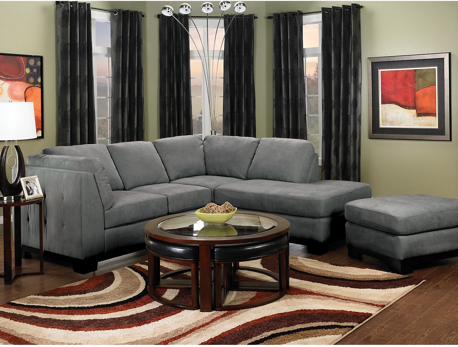 Oakdale 2-Piece Microsuede Sectional w/Right-Facing Chaise - Grey | The : micro suede sectional - Sectionals, Sofas & Couches