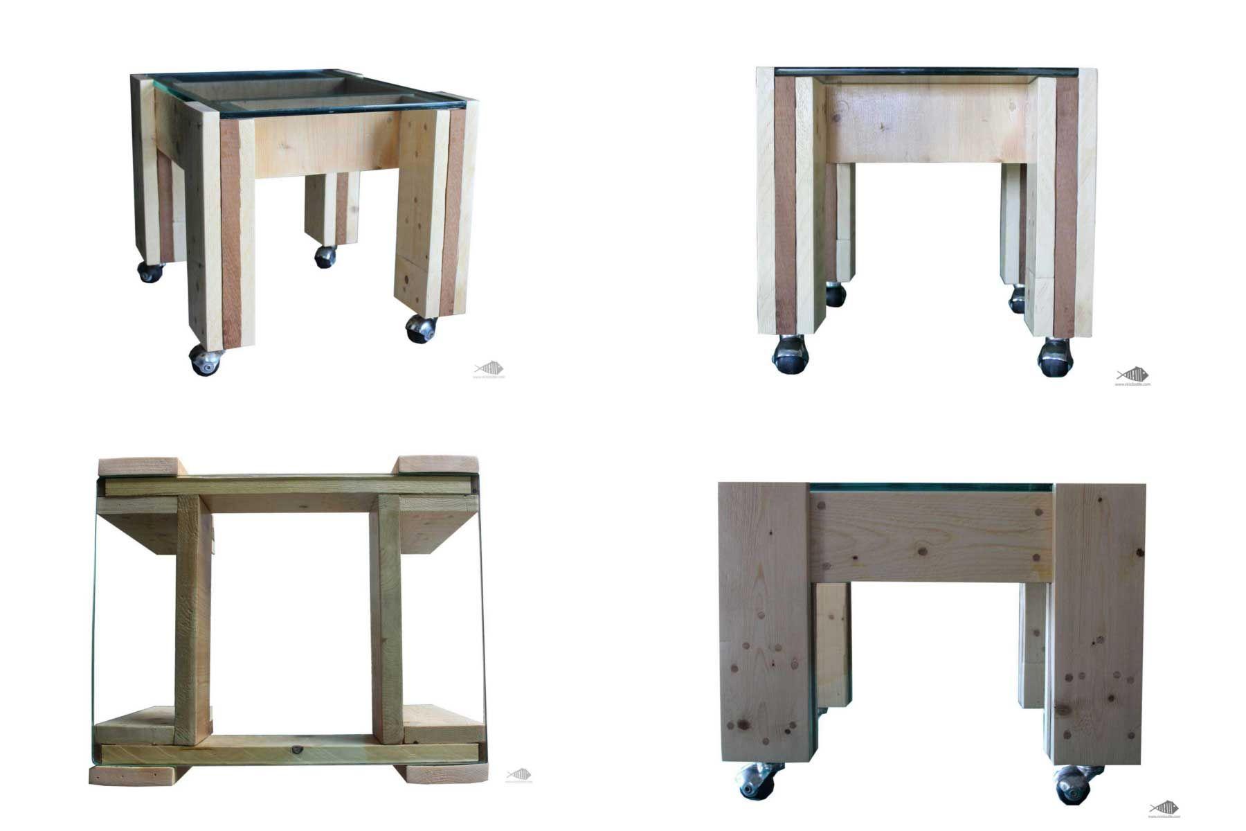 Spyder Tavolo ~ Spider tavolino in legno di pallet e vetro riciclato tavolo