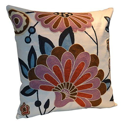 Cotton Navy Blue Floral Embroidered Square Pillow Case Decorative Cushion Cover