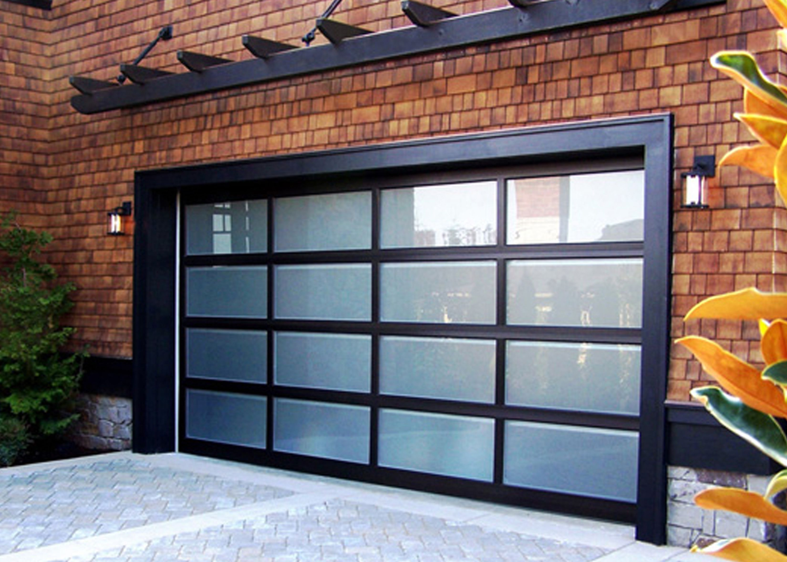 Cool Design Of The Black Wooden Gl Garage Door Ideas With Brown Bricks Wall Standard