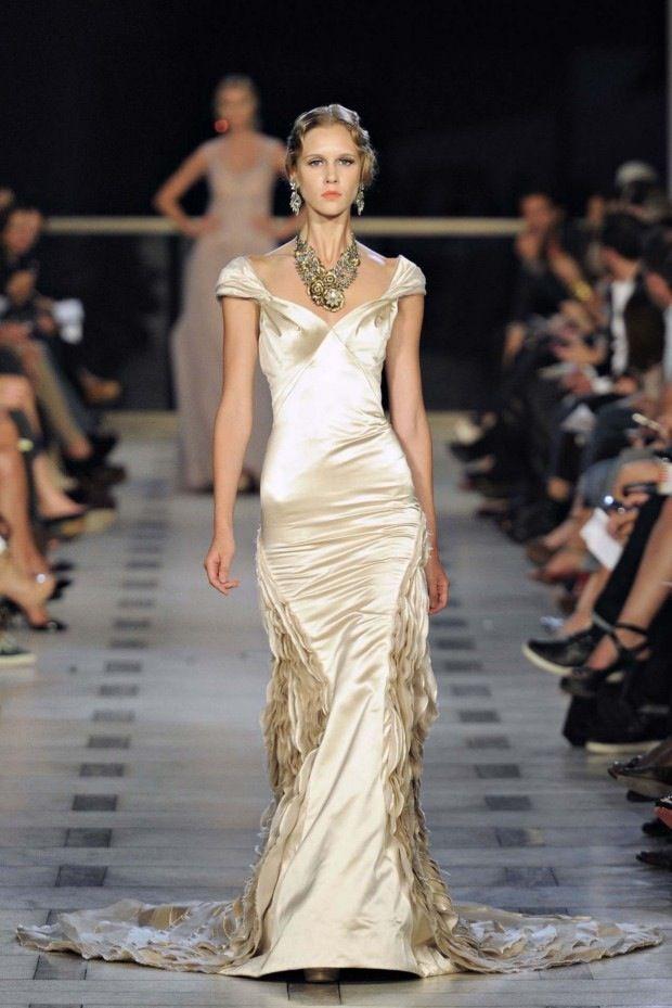 Fashion Friday: Zac Posen Spring Summer 2012 | http://brideandbreakfast.ph/2011/12/02/fashion-friday-zac-posen-spring-summer-2012/ | Designer: Zac Posen | Nude satin off-shoulder gown