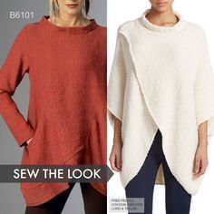 This tunic sewing pattern from Katherine Tilton for Butterick is similar to this Free People cocoon sweater. Sew the Look with B6101.