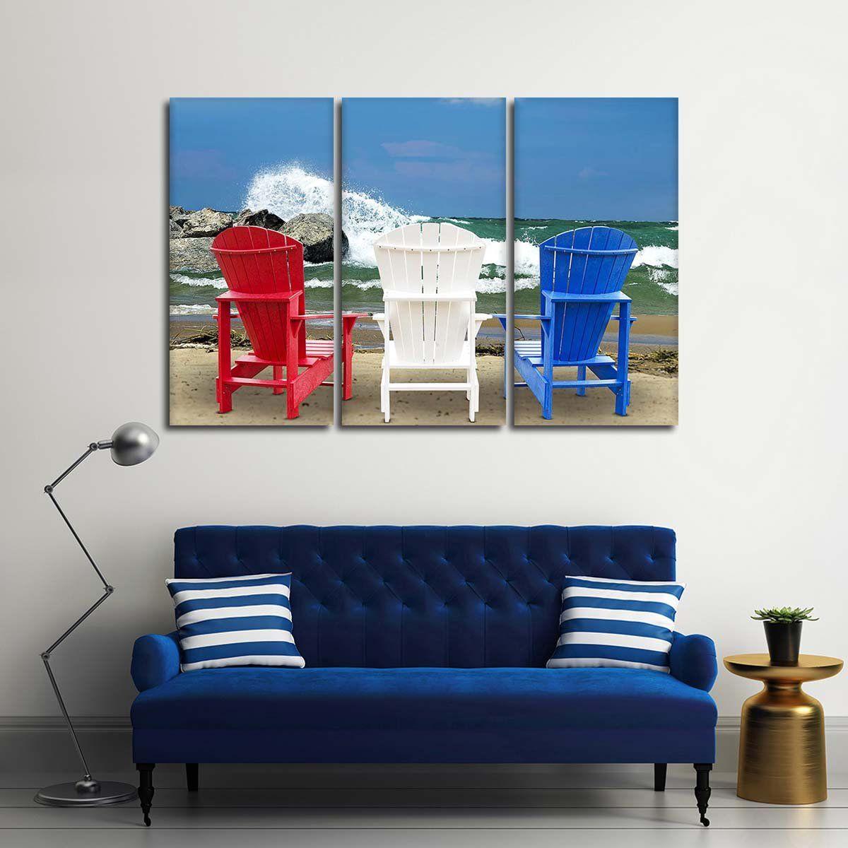 Patriotic Beach Chairs Multi Panel Canvas Wall Art Canvas Wall