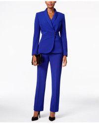 4d0c3423953f Tahari | Crepe Crossover Jacket Pantsuit | Lyst | ndo | Suits, Suits ...