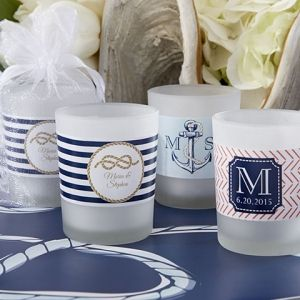 Nautical Themed Personalized Frosted Glass Votive Candles (Kate Aspen 15020NA)   Buy at Wedding Favors Unlimited (http://www.weddingfavorsunlimited.com/nautical_themed_personalized_frosted_glass_votive_candles.html).