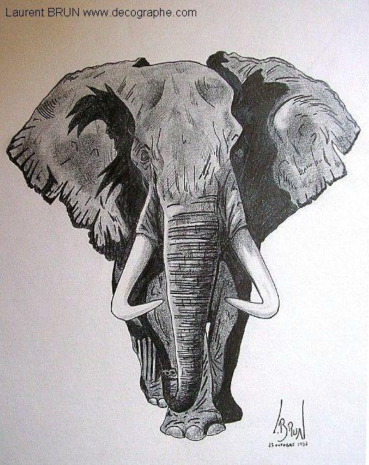 Dessin d 39 un l phant d 39 afrique eleph dessin mammif res et aerographe - Dessin d un elephant ...