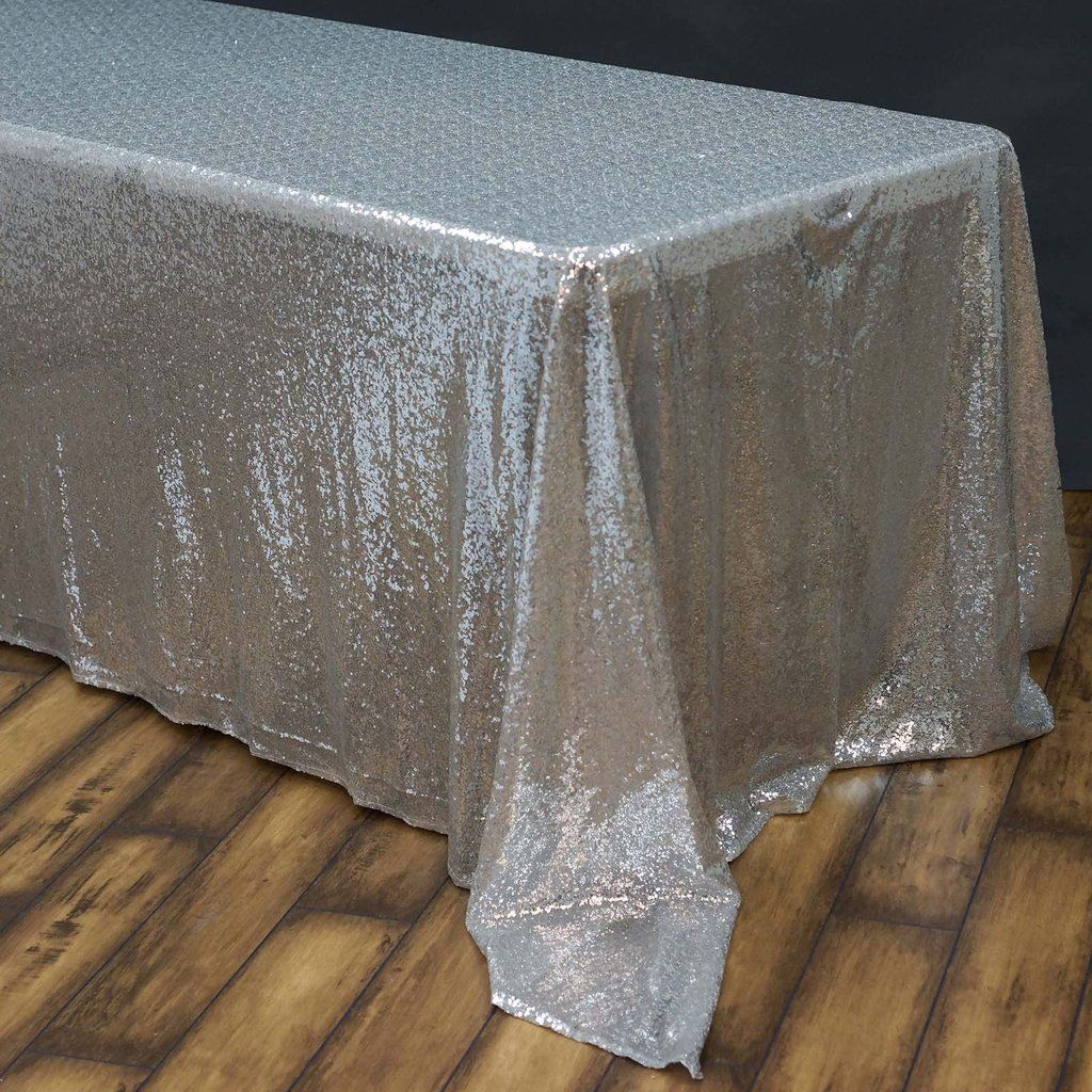 90x156 Silver Premium Sequin Rectangle Tablecloth With Images