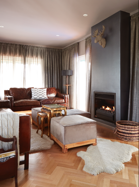 By Simone Borcherding stylist   writer   spacemaker. Moody neutral charcoal lounge layered with leather, wood, sheepskin.