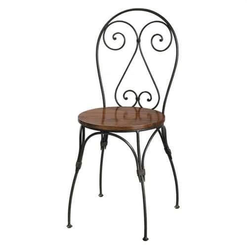 Chaise Cœur En Bois De Sheesham Massif Et Fer Forge Iron Patio Furniture Iron Furniture Chair
