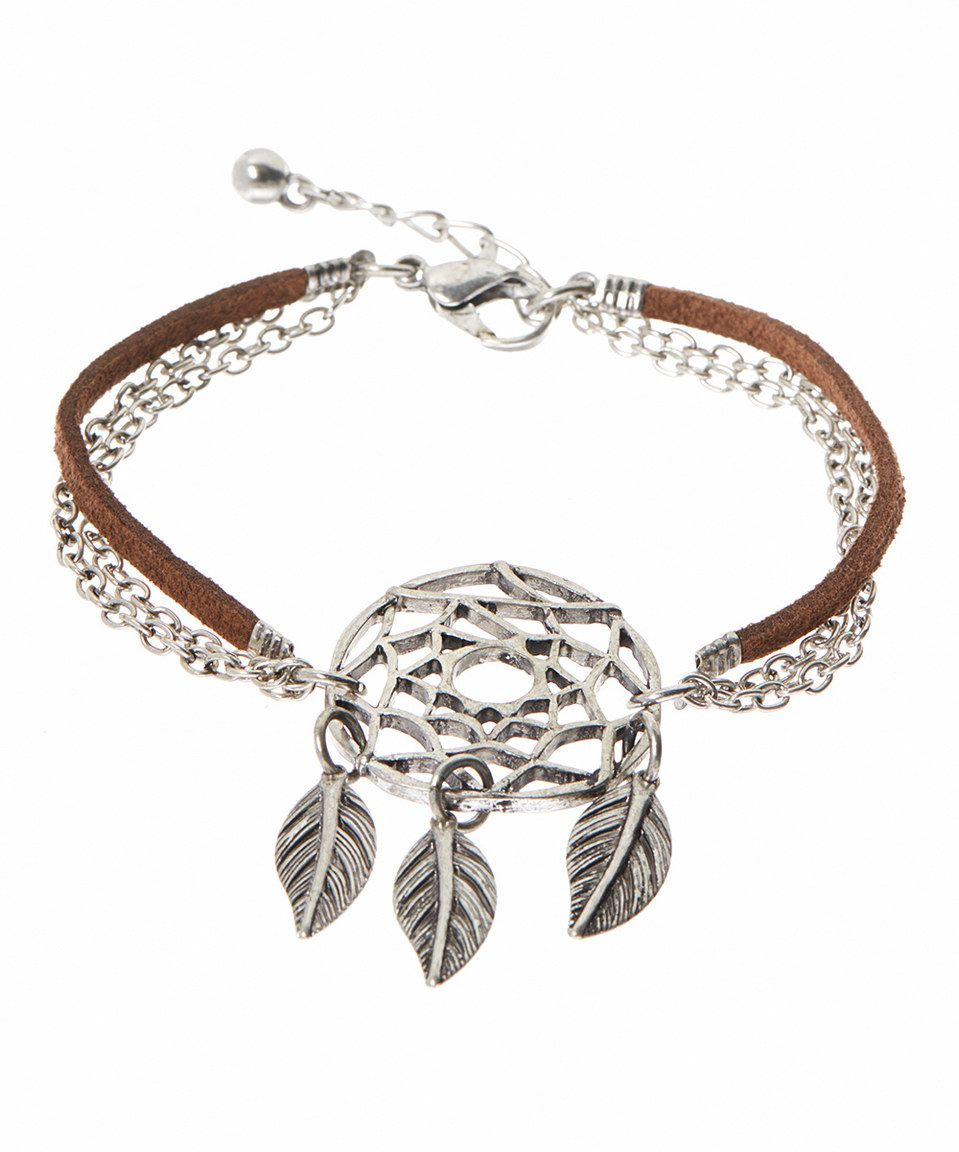 Love this Silvertone & Brown Faux Suede-Chain Dream Catcher Bracelet by Oori Trading on #zulily! #zulilyfinds