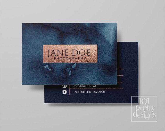 Carte De Visite Cartes Marine Rose Maquillage Feuille Dor Et Aquarelle Modele Or Imprimer Design