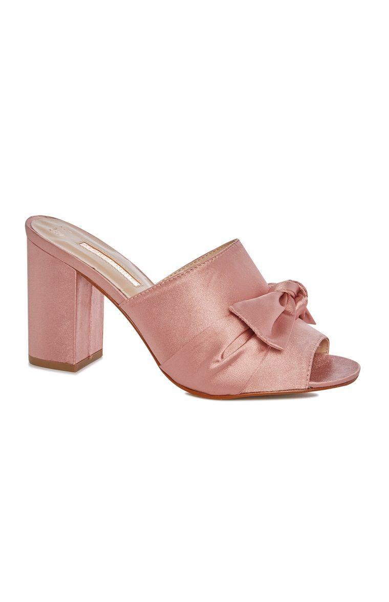 Primark - Pink Bow Heeled Peeptoe Mule   Fashion - Mules   Pinterest