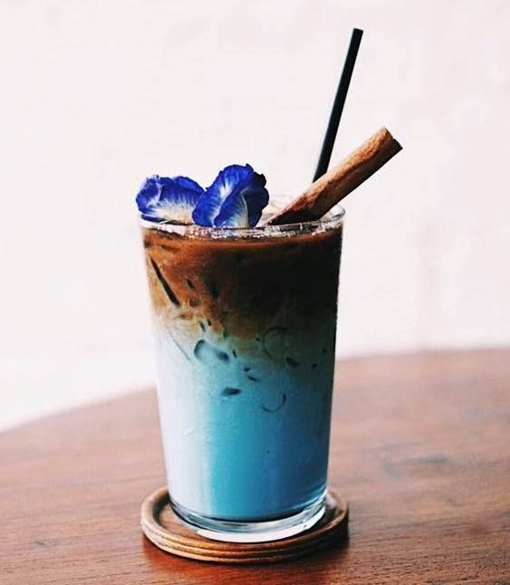 Blue Coffee Latte Made With Fresh Coffee Beans And Natural