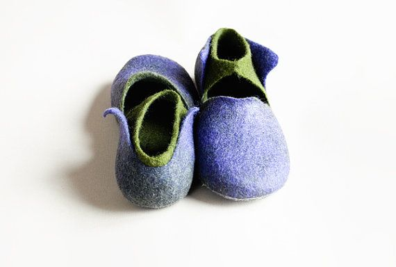 Gorgeous felted wool slippers purple and green on ETSY........looks like elf shoes!!
