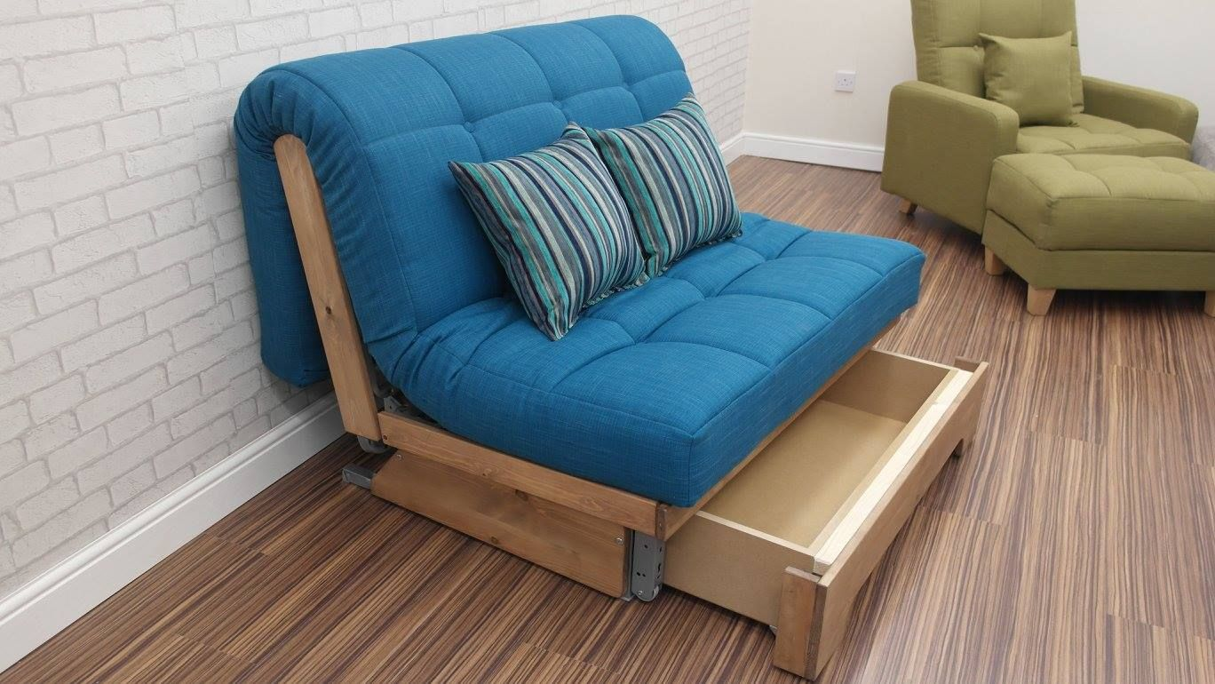 Devonshire small sofa bed with storage drawer. Small