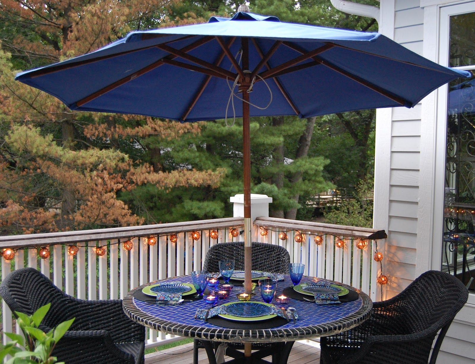 Black And Blue Patio Table Umbrella