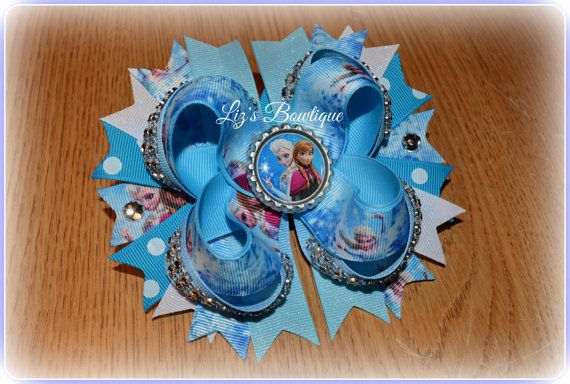 Disney FROZEN stacked hair bow by Lizsbowtiqueshop on Etsy, $10.00