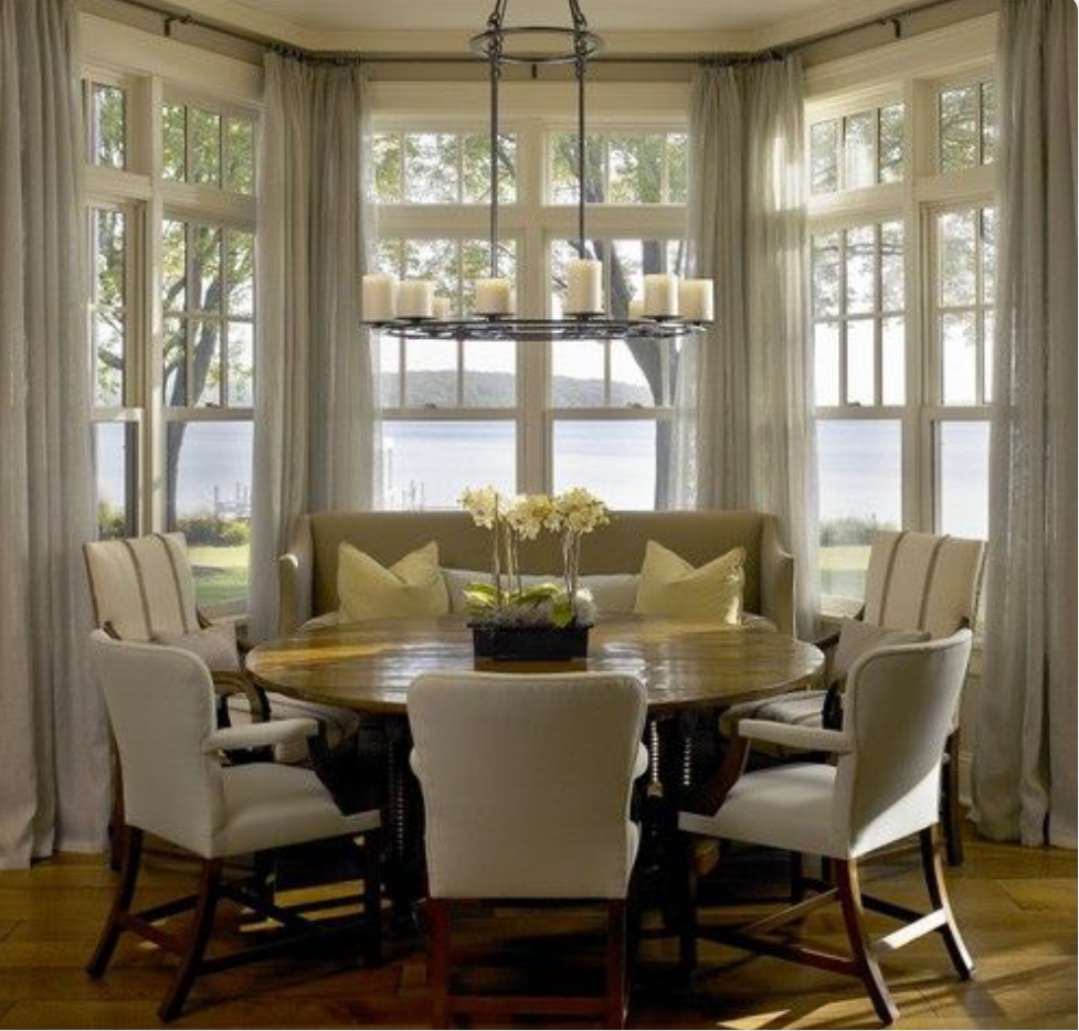Dining room window coverings  dining area uu settee  home decor  pinterest  dining room