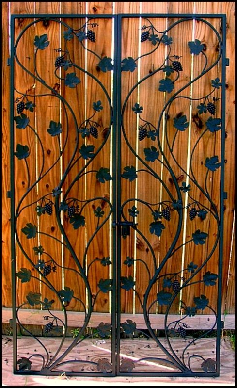 Artistic Grapevine Double Iron Wine Cellar Door Many Sizes