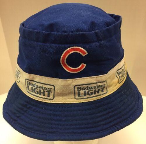 a2186bd0e13 Chicago Cubs Floppy Bucket Hat Cap Budweiser Light Bud Blue SGA Men Vintage  Rare