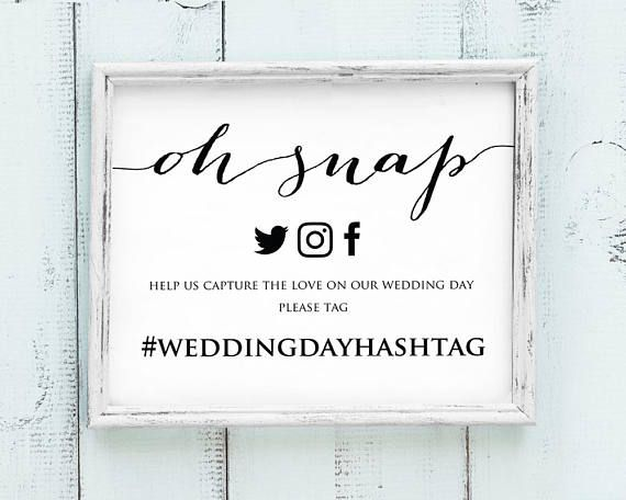 Oh Snap Hashtag Sign Faux Gold Oh Snap Wedding Sign Template MM07-3 Editable Oh Snap Sign PDF Instant Download Printable Hashtag Sign