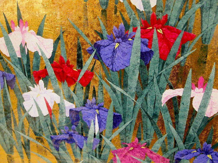"""Sugiura Kazutoshi """"Iris No. 110"""", Chinese and Japanese woodblock ..."""