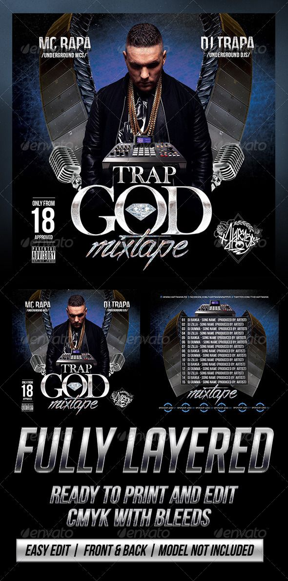 Trap God (Mixtape Cover) Mixtape, Print templates and Fonts - psd album cover template