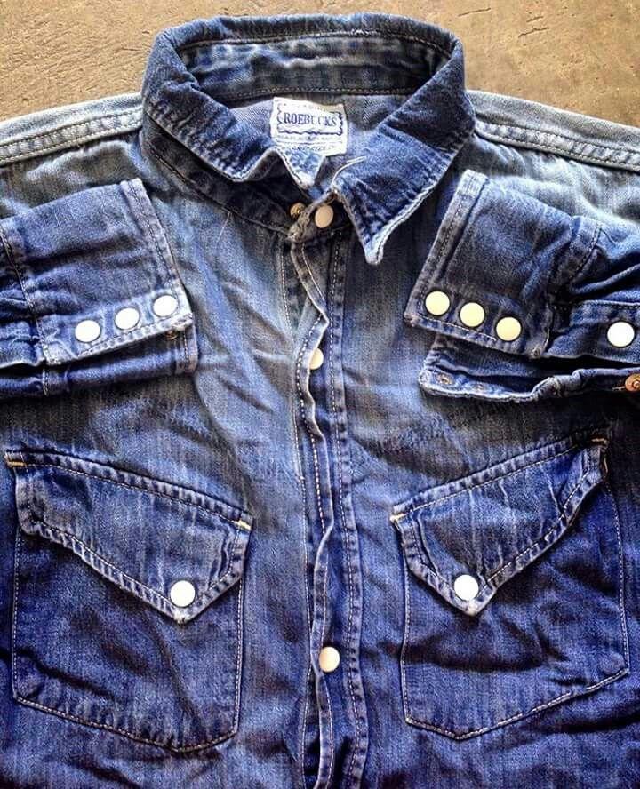 Nouveau Homme Wrangler Chambray Chemise Western Jeans Vintage Cowboy Cut Style Bleu