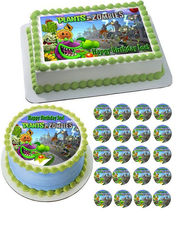 Plants Vs Zombies 1 Edible Birthday Cake Topper OR Cupcake Topper