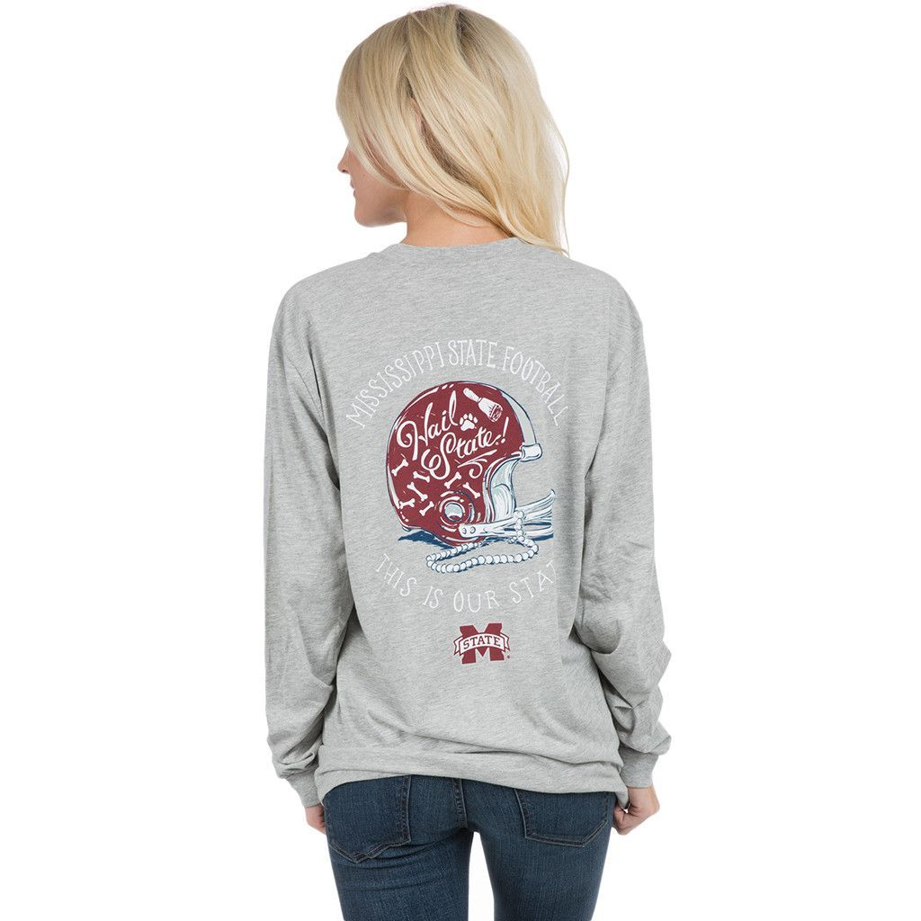 Mississippi State University Helmet Long Sleeve Tee in Heather Grey by Lauren James