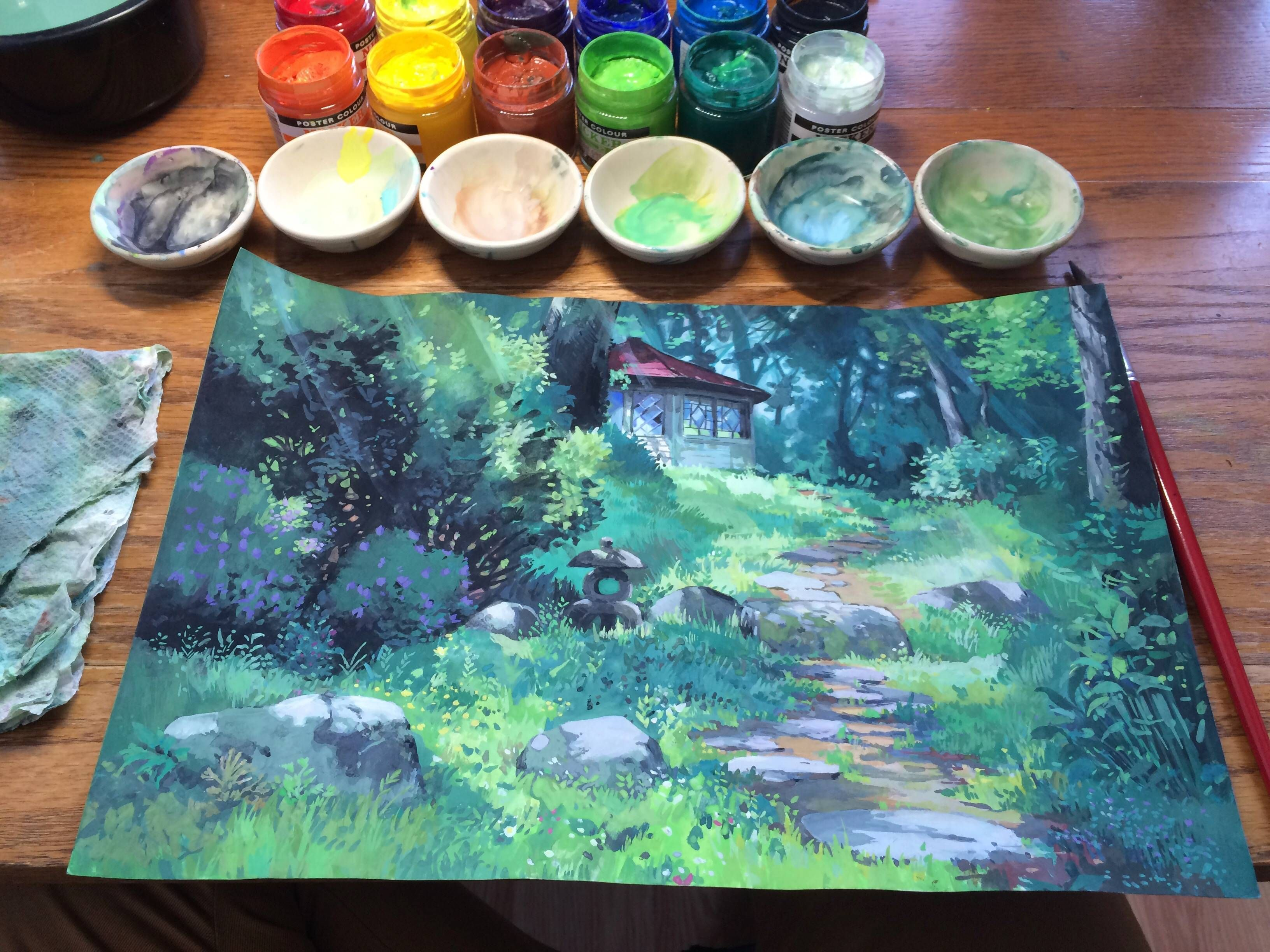 Finished My Kazuo Oga Masterstudy Oc Poster Color Painting Ghibli Art Art