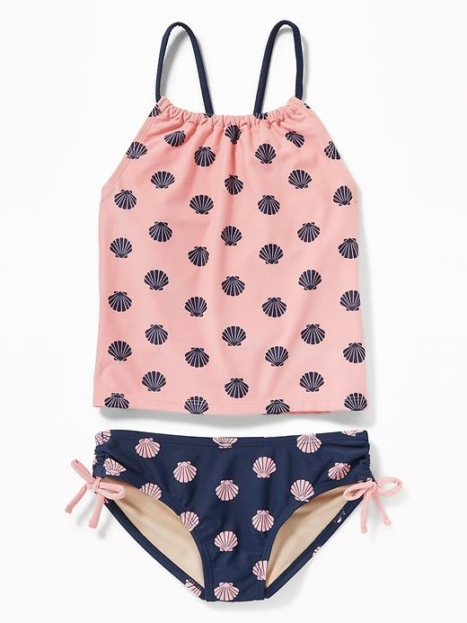 c5f5a7bd78 Old Navy Girls' Mixed-Print Tankinis Pink/Blue Clamshell Regular Size L