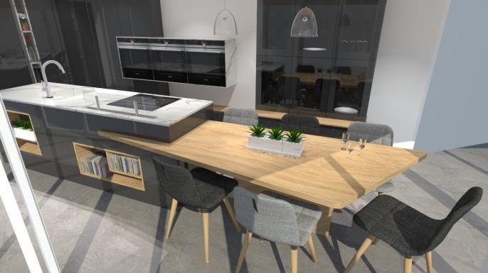 cuisine moderne avec table ilot design