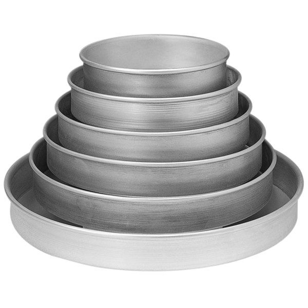 "American Metalcraft HA80012 14 Gauge 2"" Deep Aluminum Cake / Deep Dish Pizza Set - 6"", 8"", 10"", 12"", 14"", 16"""