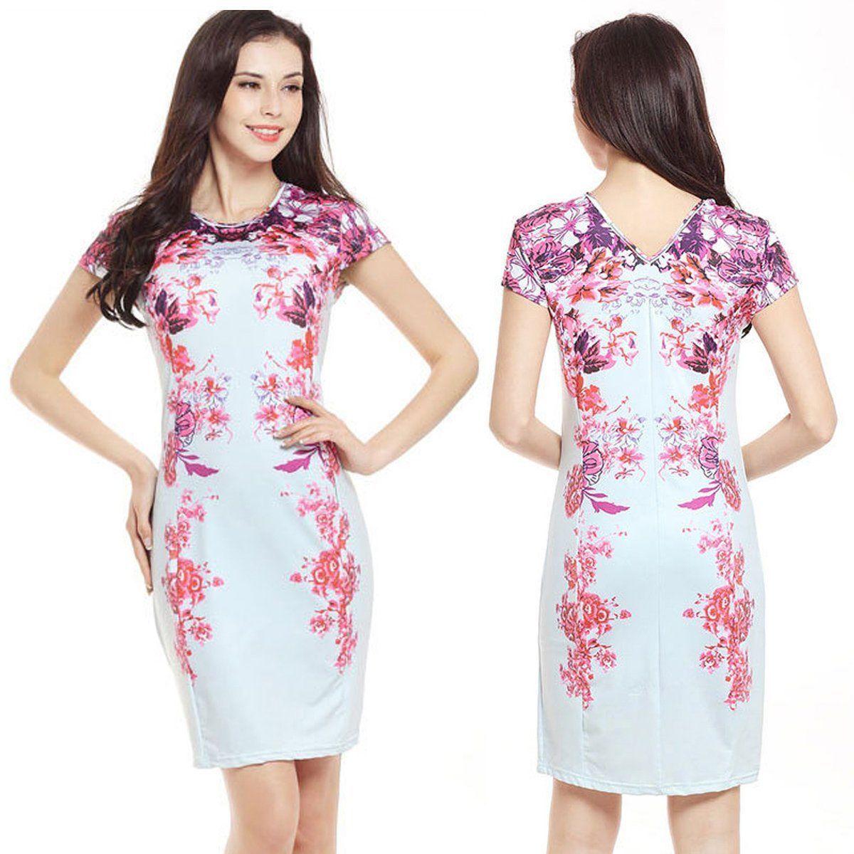 54d7fbafbef36 $9.35 - Women Summer Bandage Bodycon Slim Evening Party Cocktail Floral Short  Mini Dress #ebay #Fashion