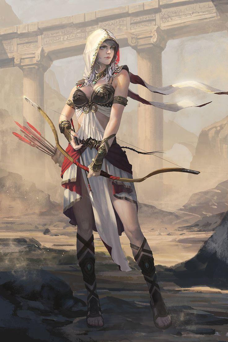 Desert archer female woman girl character design - Fantasy female warrior artwork ...