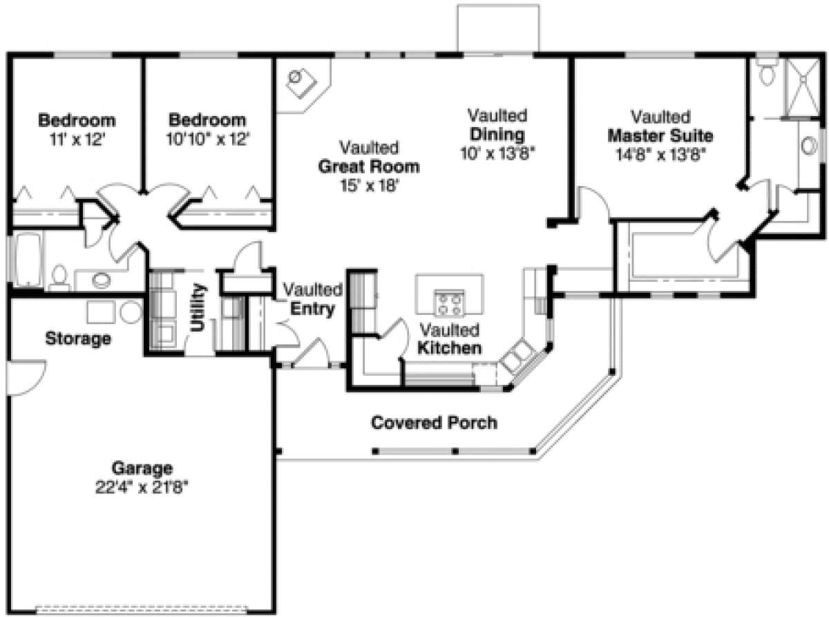 House Plan 035 00079 Country Plan 1 668 Square Feet 3 Bedrooms 2 Bathrooms In 2020 Ranch Style House Plans House Plans Ranch House Plans