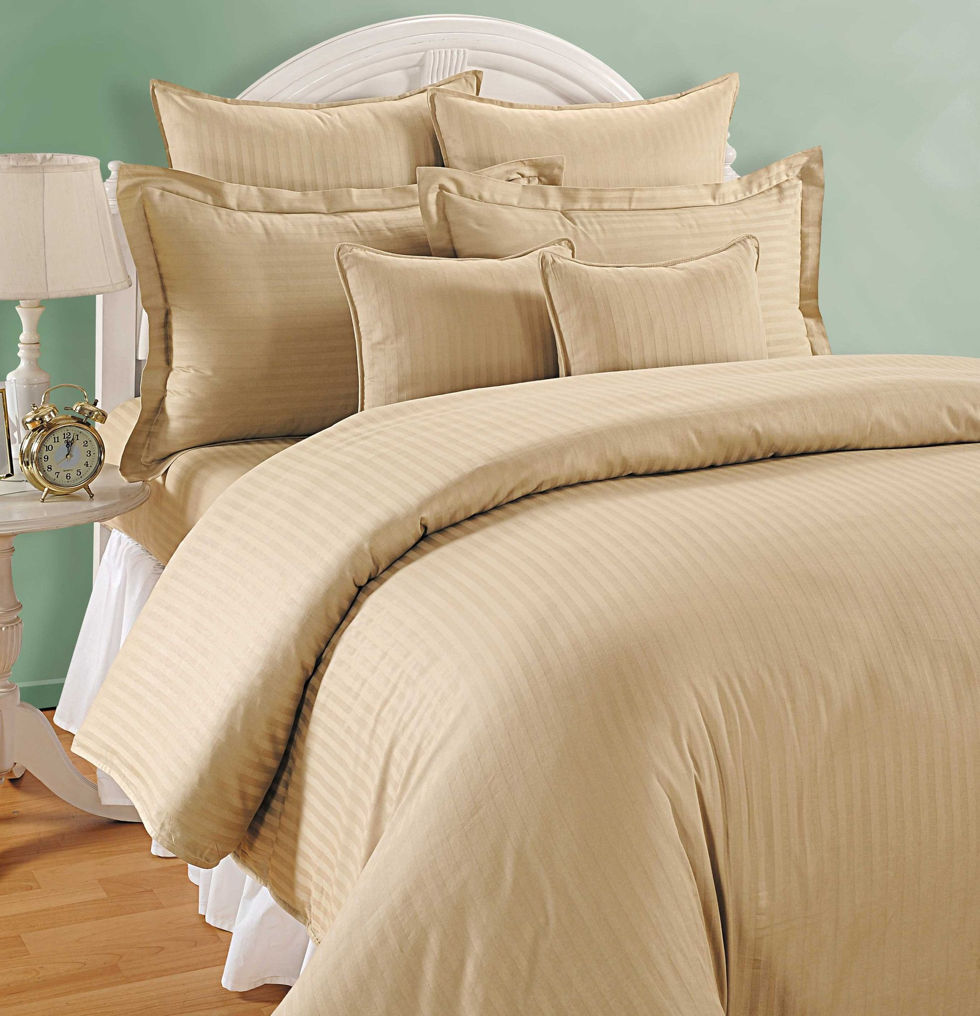 Beige duvet covers canopus Fitted bed sheets, Double